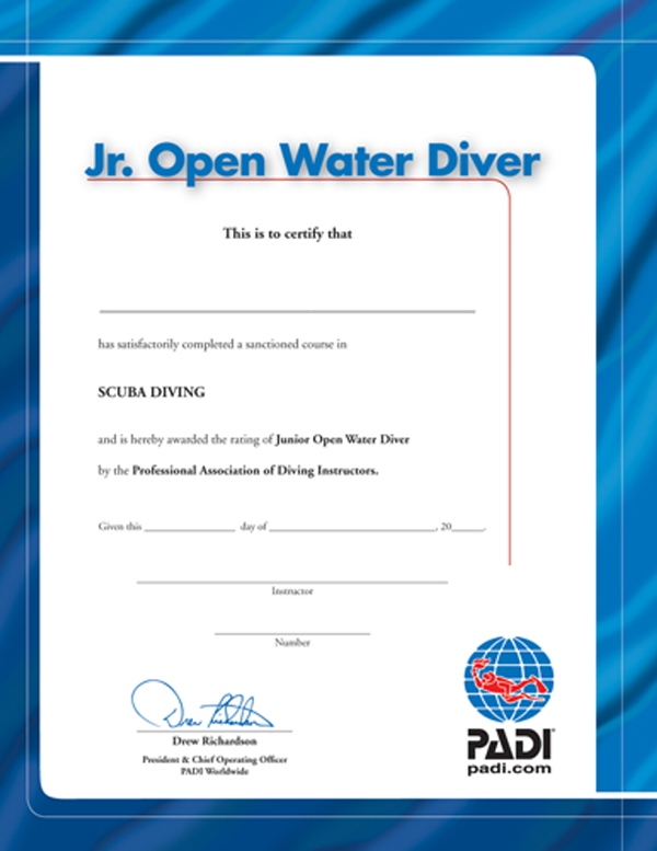 PADI - Certificate Junior Open Water Diver