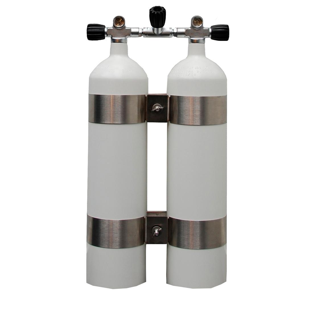 POLARIS - DoppelTauchgerät 232Bar Stahlflaschen 40mm Brückenventile 12544 konkav