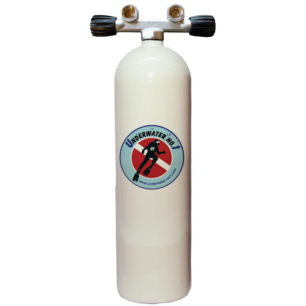 POLARIS - Tauchgerät 12l lang 232Bar Stahlflasche Twinventil 12944 konkav