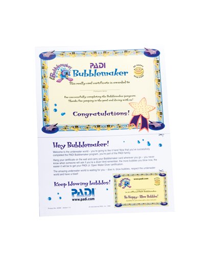 PADI - Certificate BUBBLEMAKER with Participant Card