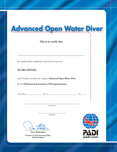 PADI - Certificate Advanced Open Water Diver